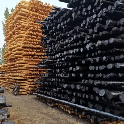 厂家专业生产油木杆 油炸杆 防腐油木杆 黒木杆 通信油木杆